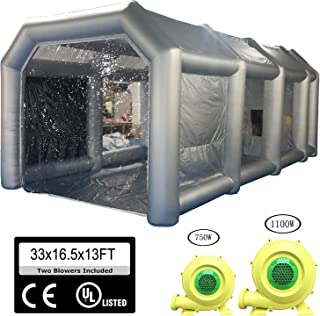 Inflatable Paint Booth 33x16.5x13FT with 2 Blowers Inflatable Spray Booth with Filter System Portable Car Paint Booth for Car Parking Tent Workstation(10 x 5 x 4 M)