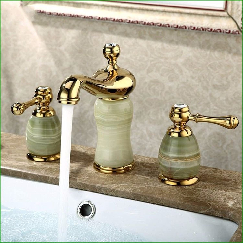 ETERNAL QUALITY Badezimmer Waschbecken Wasserhahn Messing Hahn Waschraum Mischer Mischbatterie Tippen Sie auf Alle Kupfer natürliche Jade Messing verGoldet 3-Loch Wasserh
