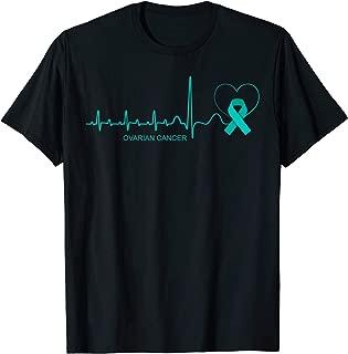 Ovarian Cancer Awareness Shirt Teal Ribbon Heartbeat Gift T-Shirt
