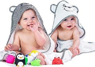 Paquete de 2 toallas de bebé con capucha de 30.0 x 30.0in para bebés, niños recién nacidos, niñas, gemelos, niños pequeños, accesorios y regalo – Bordado, patrón blanco y negro