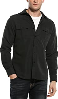 COOFANDY Men's Faux Suede Military Style Casual Long Sleeve Button Down Camp Shirt