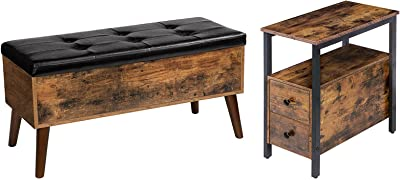 HOOBRO End Table and Storage Bench Bundle, Narrow Chairside Table with 2 Drawer and Open Storage Shelf, Flip Top Entryway Bench Seat with Safety Hinge, Storage Chest, Rustic Brown and Black
