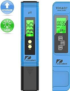 Medidor de prueba de calidad del agua Pancellent TDS PH EC Temperatura 4 en 1 Juego para hidroponía, acuarios, agua potable, sistema de RO, estanque de peces y piscina
