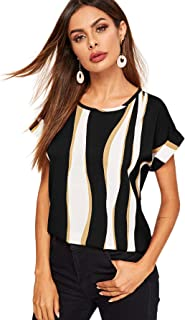 Women's Color Block Short Sleeve Round Neck Blouse Top