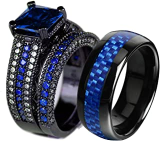 Couple Ring Bridal Set His Hers Black Gold Plated Blue CZ Stainless Steel Wedding Ring Band