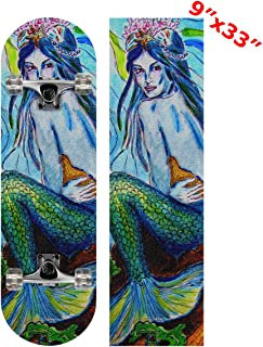 Anneunique Custom Watercolor Mermaid Skateboard Grip Tape Sheet 9