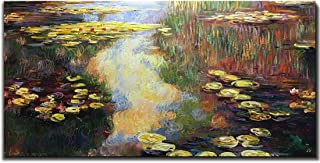 Amei Art Paintings, 24X48 Inch Water Lilies Pond Hand-Painted On Canvas Claude Monet Oil Painting Art Reproduction Abstract Landscapes Artwork Art Wood Inside Framed Hanging Wall Decoration