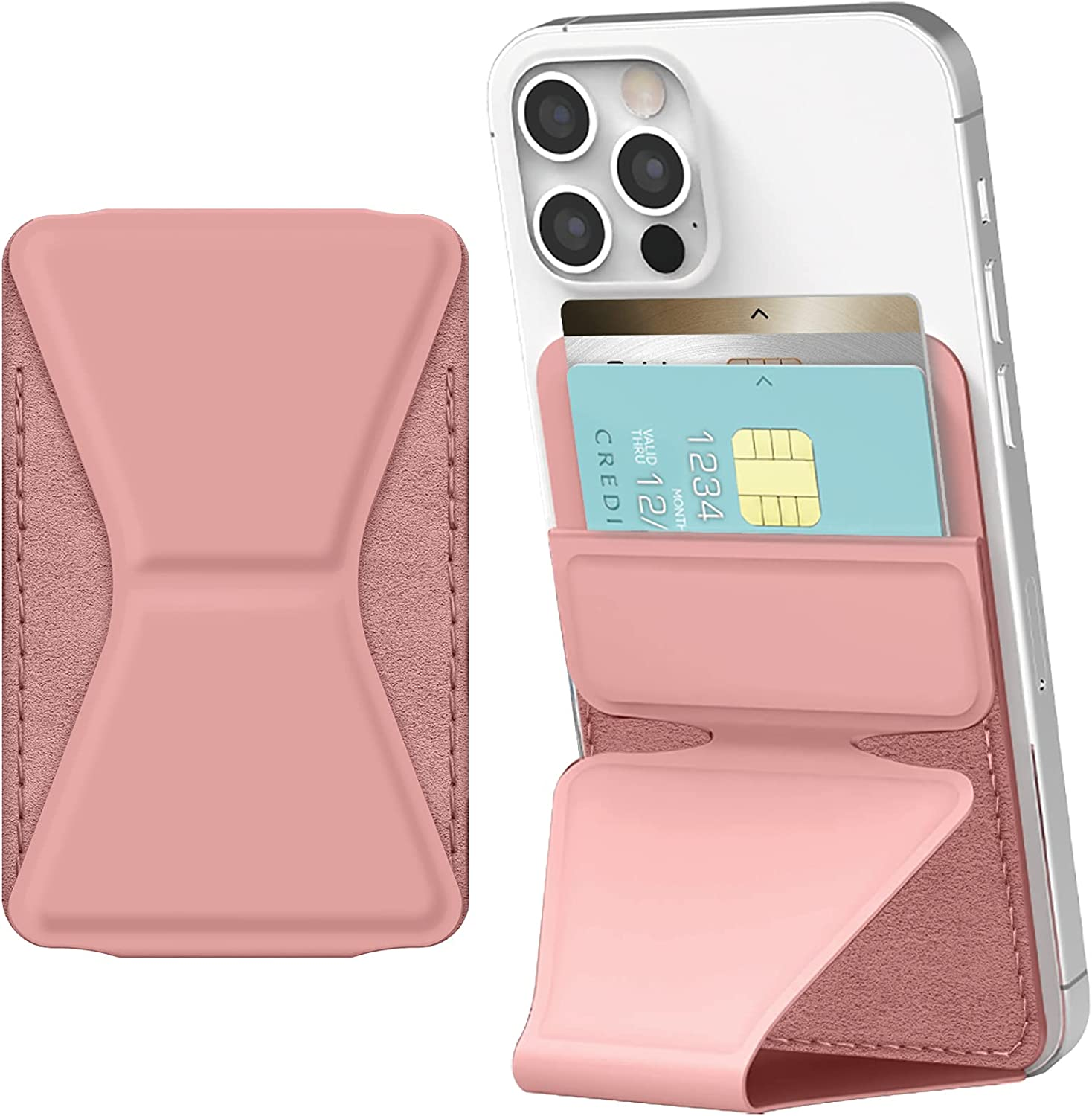 JUST4YOU Card Holder Stand Wallet Case for Smartphones, Tablets, iPhones, Android Phones [Premium PU Leather, 2 Card Storage, Kickstand] - Pink