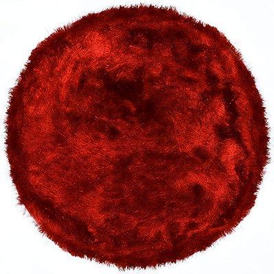 benuta Shaggy Hochflor Whisper Rot ø 80 cm rund | Langflor Teppich für Schlafzimmer und Wohnzimmer Tapis, Fibres synthétiques, Rouge