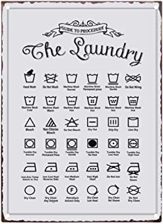 PXIYOU Rustic Guide to Procedure The Laundry Retro Vintage Tin Sign Country Home Decor for Laundry Room, Washroom, Bathroo...