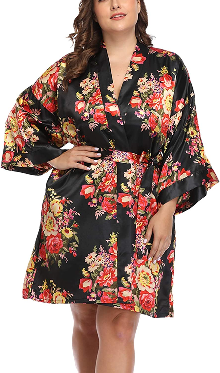 Women's Plus Size Floral Satin Wedding favorite Robe Nig Bridesmaid Bride Cheap mail order specialty store