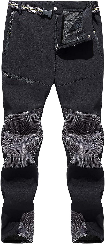 Unisex Snow Ski Pants Waterproof Softshell Snowboard Pants Fleece Lined Warm Trousers Pants for Outdoor Hiking Climbing