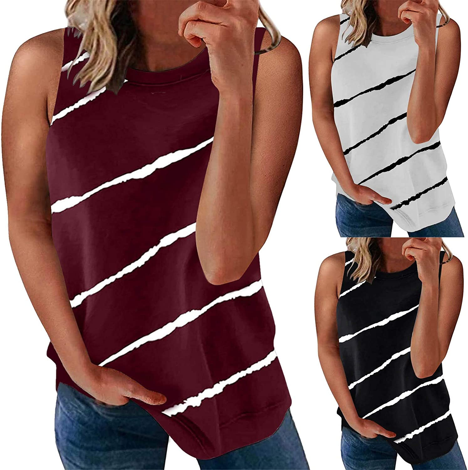 felwors Womens Camisoles and Tanks, Women's Summer Casual Wrinkled O Neck Strap Cami Loose Fit Tank Tops Vest Blouse Black