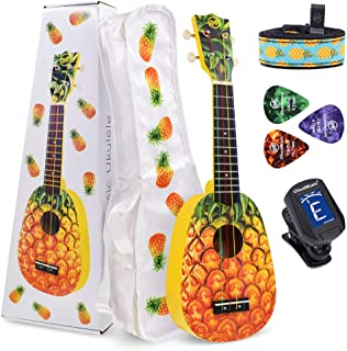CloudMusic Kit de Iniciación Ukelele con Funda Sintonizador Púas Correa y Cuerdas Aquila de Colores en Forma de Piña Tamaño Soprano