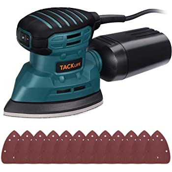 TACKLIFE Mouse Detail Sander 12,000 OPM, New Model Electric Sander with Dust Collection System, 12Pcs Sandpapers, Vacuum Cleaner Connecting Pipe, Ideal for Tight Spaces Home Decoration, PMS01AS