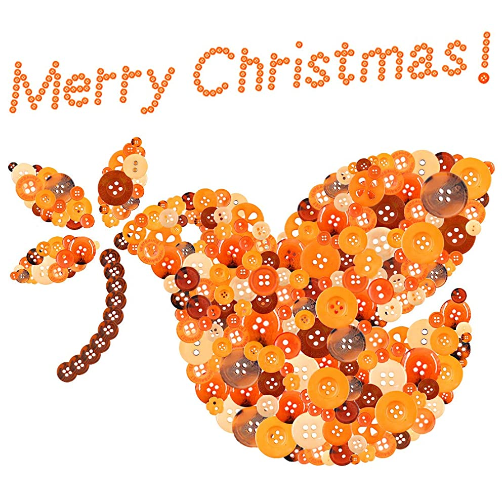 Glarks 1000-Pieces Christmas Buttons 2 Holes and 4 Holes Orange Round Craft Resin Buttons for Sewing Scrapbooking Christmas DIY Craft Decoration(Orange)