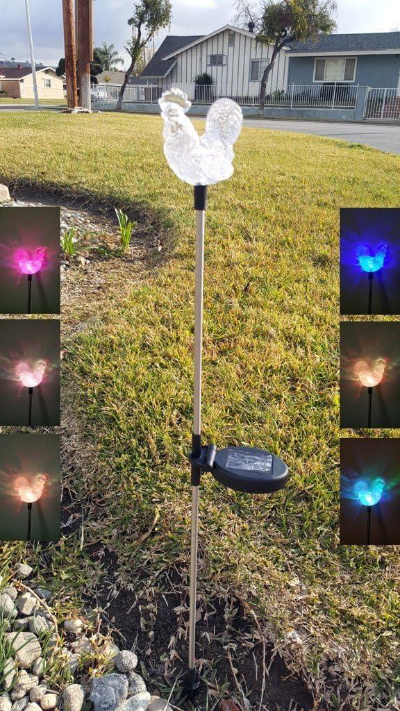 Set of 2 Clear Acrylic Rooster Award Color Solar Yard Change Lig half Stick