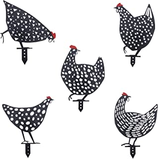 Aozita 5 PCS 13 inch Metal Chicken Yard Art Garden Decorative Stake Hollow Out Rooster Animals Silhouette Statue Decor, Pa...