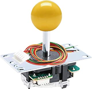 Sanwa Denshi JLF-TP-8YT Yellow Ball Top Handle Arcade Joystick Part 4 & 8 Way Adjustable - Hori Fight Stick Repair Part - ...