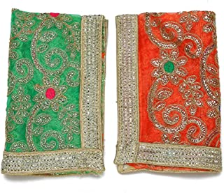 Aditri Creation Set of 2 Chunari Green Orange Size 12X18