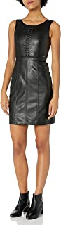 A|X Armani Exchange womens Short Sleeveless Leather Dress Casual Night Out Dress