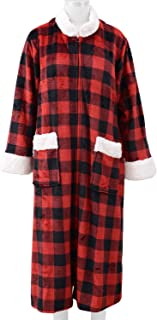 Shop LC Delivering Joy Red and Black Check Cozy Soft Long Flannel Robe with Zipper and Sherpa at Collar XL 100% Polyester