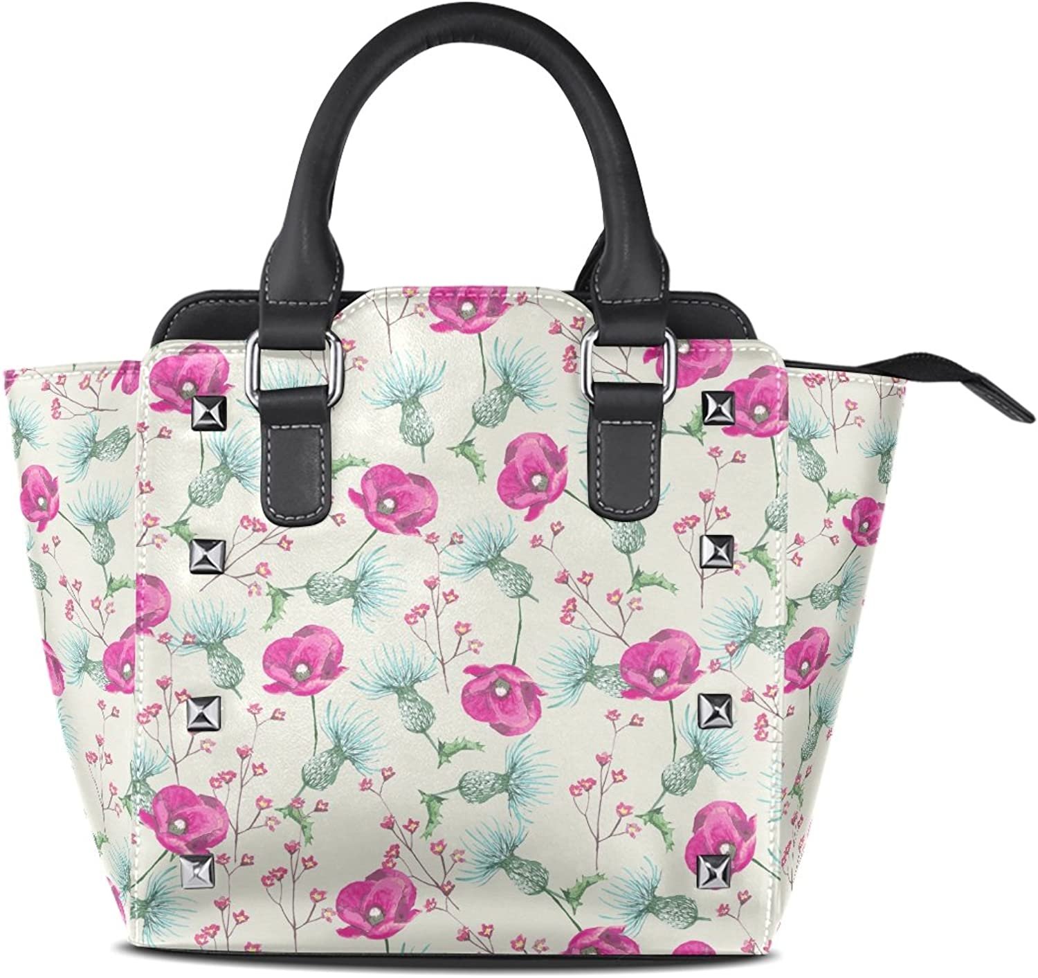 Sunlome Cute Floral Print Women's Leather Tote Shoulder Bags Handbags
