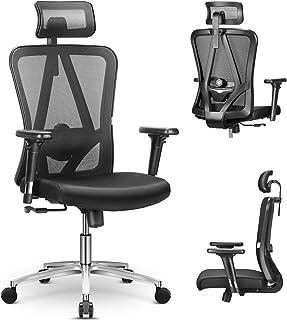mfavour Chaise de Bureau Pivotante Siège Confortable Fauteuil de Bureau Ergonomique avec 3D Accoudoirs, Hauteur Apui-tête ...