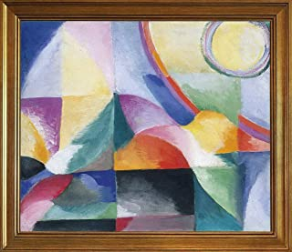 Berkin Arts Sonia Delaunay Classic Framed Giclee Print On Canvas-Famous Paintings Fine Art Poster-Reproduction Wall Decor(Delaunay Terk Sonia Contrasts Simultaneous Simultaneous Contrasts) #JK
