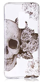 Galaxy S9 Plus Case,Vfunn [Pink Series] Slim Fit TPU Gel Anti-Scratch Good Decoration Clear Transparent Protective Case Cover for Samsung Galaxy S9 Plus (Skull)