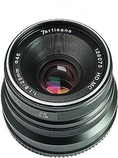 7artisans 25mm F1.8マニュアルフォーカスレンズFujifilm Fuji カメラ X-A1 X-A10 X-A2 X-A3 X-AT X-M1 XM2 X-T1 X-T10 X-T2 X-T20 X-Pro1 X-Pro2 X-E1 X-E2 X-E2s適用- ブラック