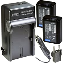 ecoEfficiency 2 Pack of NP-FW50 Batteries & Charger for Sony a3000, a5000, a5100, a6000, a6300, a6400, a6500, Alpha 7, Alpha 7R, Alpha a7, a7 II, a7R, a7R II, a7S, a7S II, a99 II, NEX-3, NEX-3N, NEX-5
