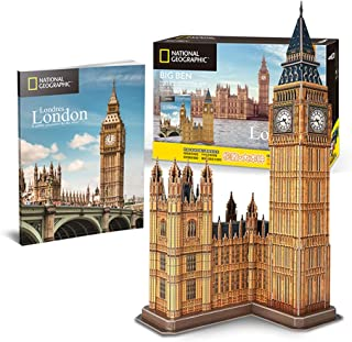 3D Three-Dimensional Building Drawing, Big Ben Hand-Assembled Paper Model of National Geographic Jigsaw Building Model Kit...