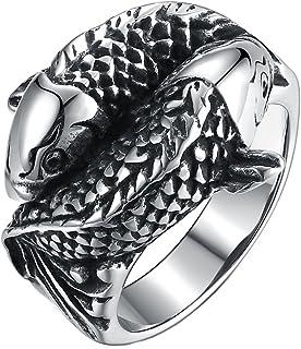 HIJONES Cobra Serpent Bague pour Homme en Acier Inoxydable