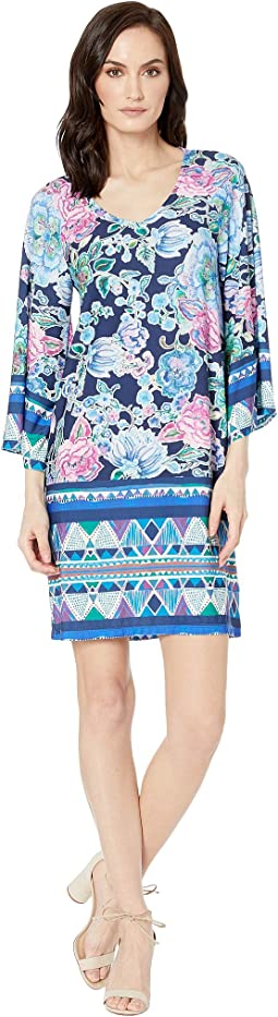 Printed Jersey Bell Sleeve V-Neck Dress