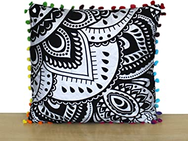 INDIAN CRAFT CASTLE Cotton Black Silver Flower 12 x 12 Inches Decorative Hand Made Cushion Covers Print Small Printed Design