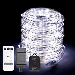 ANJAYLIA 66ft 200 LED Rope Lights Outdoor, Waterproof String Lights Plug in with Remote Control Dimmable Twinkle Fairy Lights for Christmas Porch Deck Garden Party, White