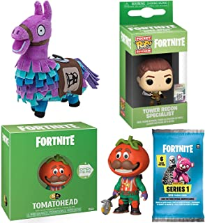 Fortnite Pizza Tomato Head Figure Bundled with 5 Star Tomatohead + Tower Recon Specialist Pocket POP! Hanger Keychain + Purple Loot Llama 7