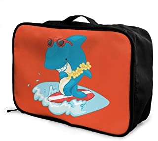 Cute Shark Print Eco-friendly Travel Duffel Bag Waterproof Fashion Lightweight Large Capacity Portable Luggage Bag
