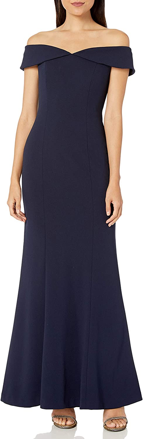 Calvin Klein Women's Off The Recommended Quantity limited Collar Gown with Shoulder Folded