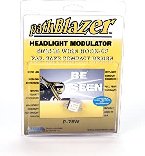 Universal Motorcycle Safety Headlight Modulator P75W with Plug n Play Programming, w/Daylight Sensor, Easy One Wire Install, pathBlazer By Kisan for Conventional Bulbs Only