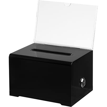 "AdirOffice Acrylic Donation & Ballot Box with Lock (6.25"" x 4.5"" x 4"") - Black"