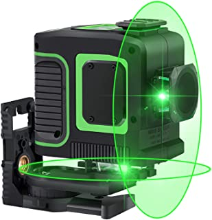 Laser Level Self-Leveling 2x360° Green Cross Line Laser Vertical Horizontal with Magnetic Pivoting Base,Carrying Pouch,Battery Including for DIY Picture Hanging Construction