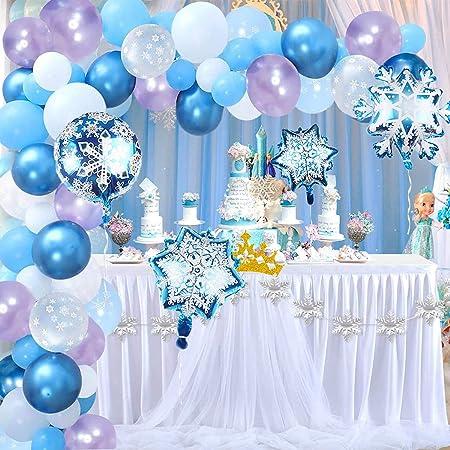 Hongyans Decoraciones Cumpleaños Congeladas Niñas Niños Globos de Cumpleaños Azules Globos de Copo de Nieve para Adornos Cumpleaños Baby Shower Bodas Princesa Cosplay
