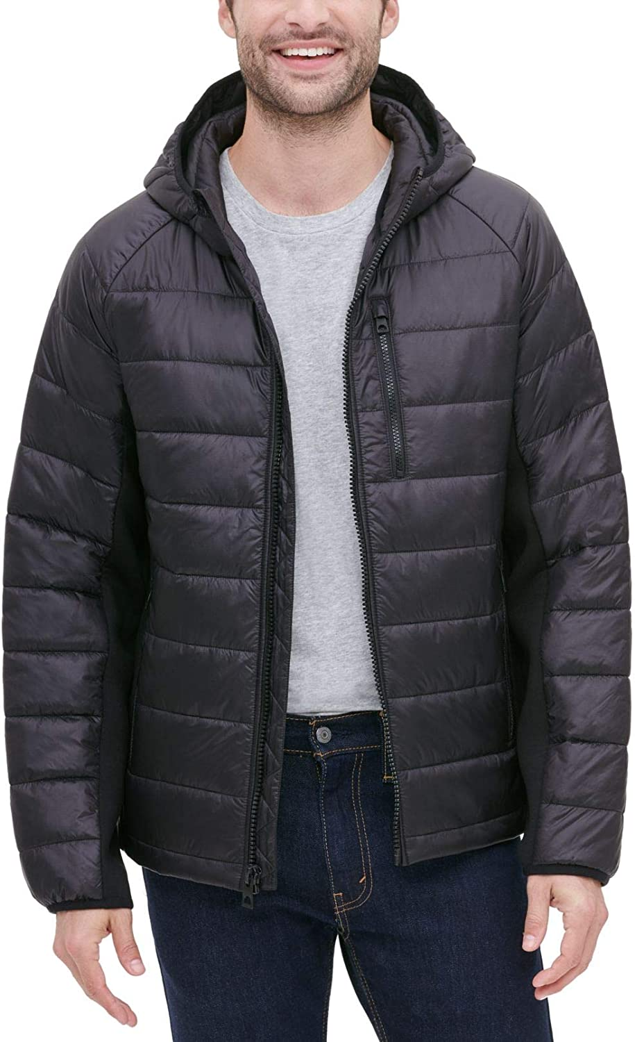 GUESS Men's Wind & Water Resistant Hooded Puffer Jacket with Side Stretch Panels