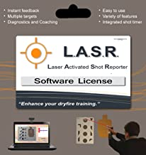 L.A.S.R. Laser Activated Shot Reporter. LASR software using webcam tracks time and shot placement for 1 to 9 shooters.