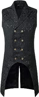 ZEROYAA Mens Gothic Steampunk Double Breasted Jacquard Brocade Vest Waistcoat Sleeveless Tailcoat