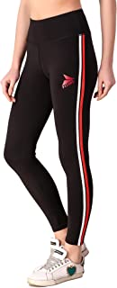 Fitinc Black Leggings for Girls/Women with Red & White Stripe – Stretchable, Comfortable & Absorbent Gym Tights for Workou...