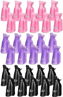 Reusable Nail Polish Remover Clips, AUMA 30pcs Plastic Acrylic Nail Art Soak Off Clip Caps UV Gel Polish Removal (Pink,Pur...