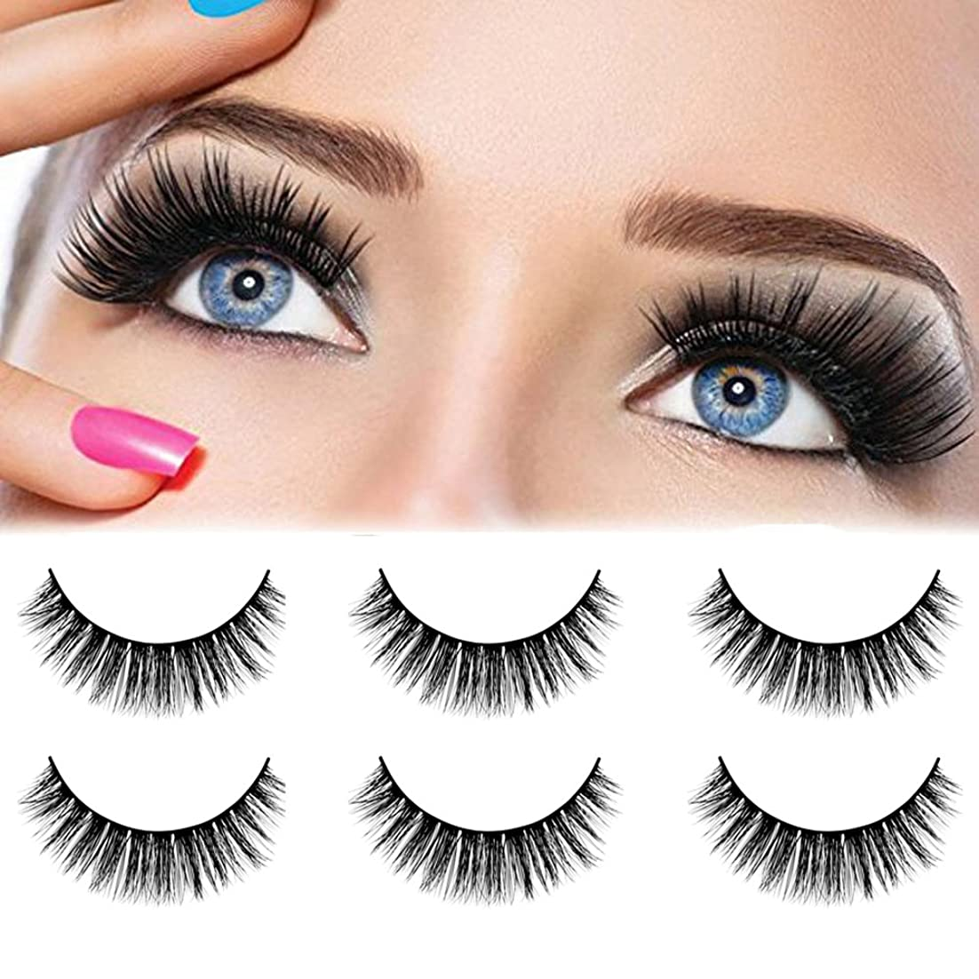物思いにふけるナチュラ徐々にgoupgolboll-3 Pairs Mink Hair Imitation Thick False Eyelashes Natural Curly Lashes Extension